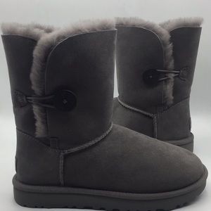 UGG Short Bailey Button Grey Suede Boots